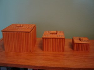 vintage bamboo wood nesting boxes set of 3 with lids made in Taiwan