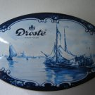 vintage oval tin Droste Haarlem Holland chocolate company blue white with lid collectible