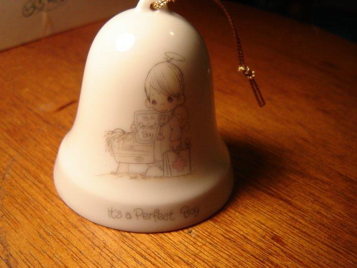 Precious Moments porcelain bell ornament It's a Perfect Boy 1986 Enesco collectible