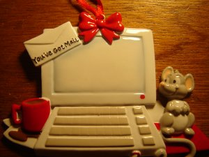 You've Got Mail Christmas ornament computer monitor mouse keyboard can be personalized