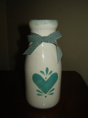 ceramic milk bottle country vase green heart design hand painted