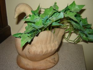 vintage clay pottery swan planter terra cotta with faux ivy leaf plant
