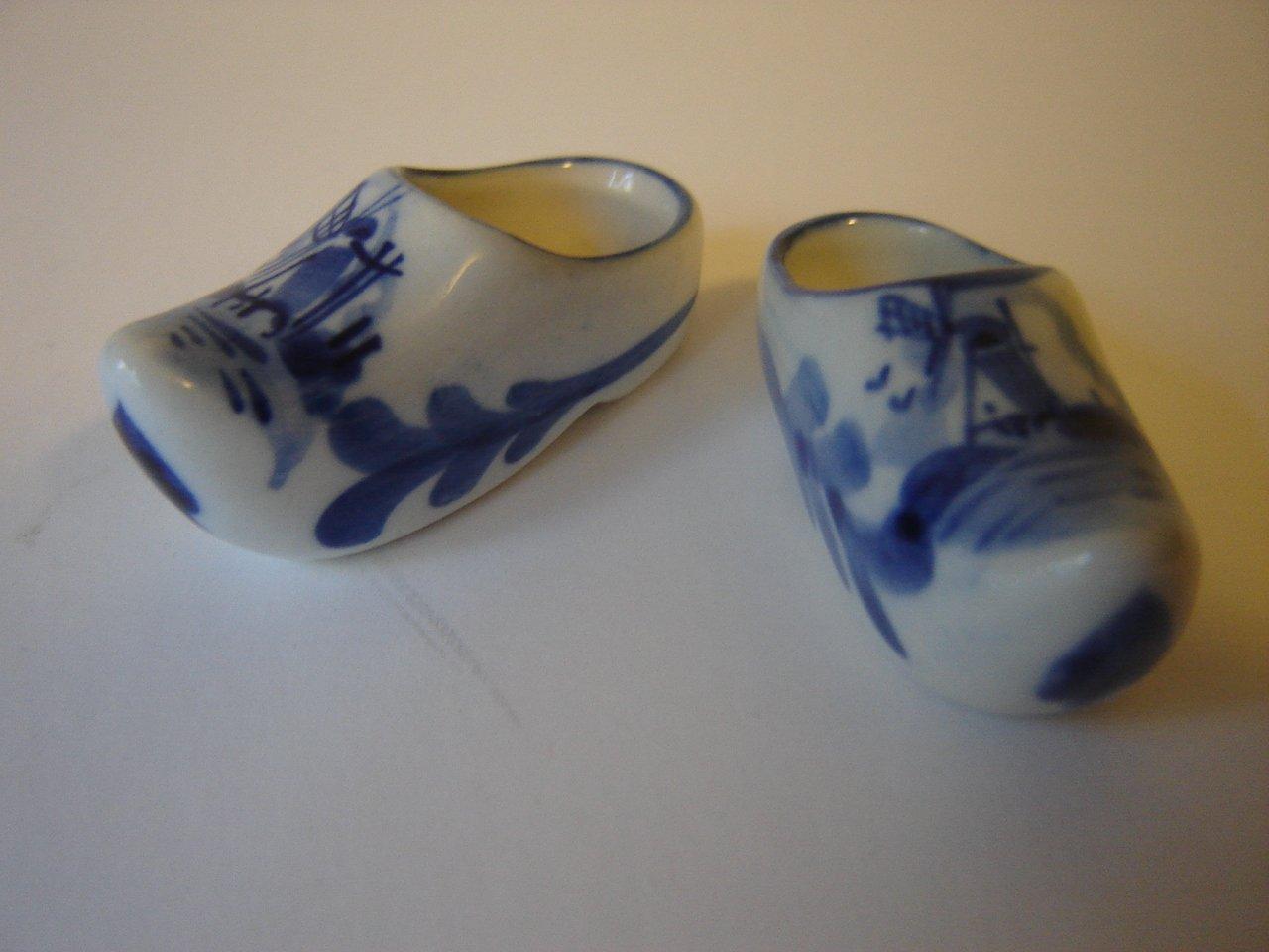 Delft miniature clogs pottery blue white Dutch windmill scene crown mark Holland vintage mint