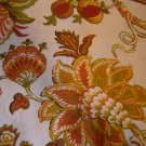 vintage fabric curtains Jacobean floral print gold rust green retro 1970s flowers