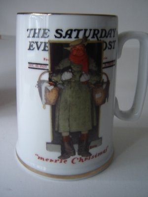 vintage Norman Rockwell mug Spirit of Christmas series collectible 1986 Merrie Coachman MINT in box