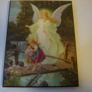 Guardian Angel art print artist Heilige Schutzengel 8 by 10 mounted on wood ready to hang