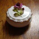 vintage Coalport bone china mini covered dish trinket box 3D raised rose deep pink