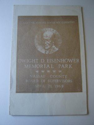 vintage program Dwight D Eisenhower Memorial Park dedication 1969 Nassau County NY FREE SHIPPING