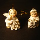 set of 2 snow angel ornaments white & gold with Christmas tree and presents mini baby figurines