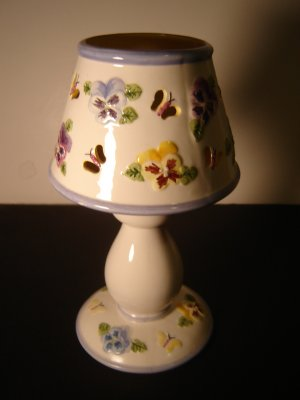 pansy & butterfly candle holder ceramic 2 piece with shade purple blue yellow