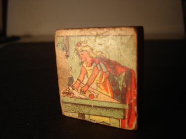 Queen of Hearts vintage wooden game puzzle piece collectible FREE SHIPPING