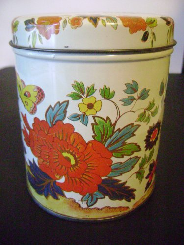 vintage Boston's Ginseng Tea tin colorful floral design collectible very good condition