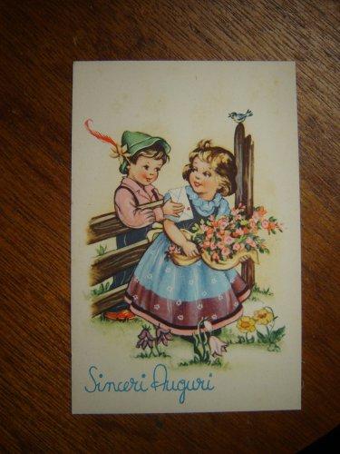 vintage postcard Sinceri Auguri printed in Italy Cecami 1137 unused excellent condition