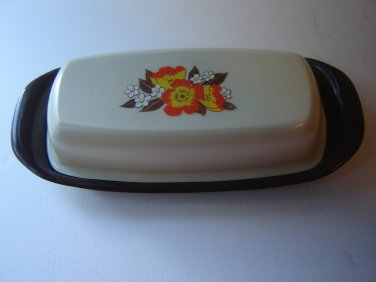 vintage butter dish flower design plastic brown beige orange yellow floral