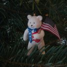 patriotic bear Christmas ornament resin 3 inch holding flag 2001 LIKE NEW
