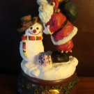 musical Christmas Santa & snowman figurine plays White Christmas holiday music box