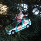 race car Santa Christmas ornament 1997 collectible holiday decoration