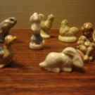 Wade Pottery 8 miniature figurines collectible assortment bunny rooster hen elephant poodle duck