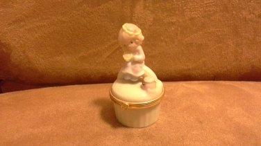 Precious Moments ceramic trinket box girl on rainbow with pot of gold