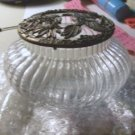 Vanity Jar with Decorated Pewter Lid
