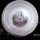 Ribbed Dessert Plate with a Godey Print