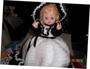 Black and White Dress Bed Doll /price reduced