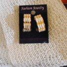 Gold tone Hoop Earrings with White Markings