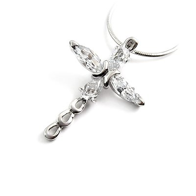 24255 - Sterling silver Cross pendant with Rhinestones