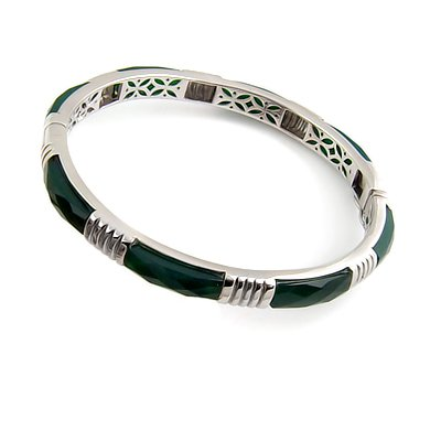 24401- Super Sterling silver bangel with  green agate inlay