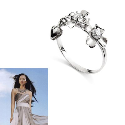 23858-sterling silver platium plated with Rhinestoe ring