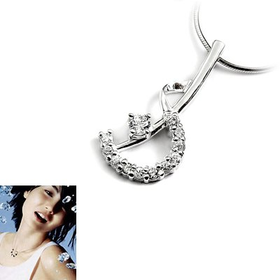 23884-Sterling silver with rhinestone  pendant