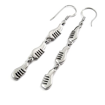 24442-sterling silver platium plated earring