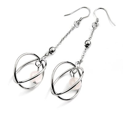 24445-sterling silver platium plated with agate earring