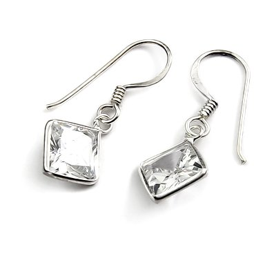 24465-Sterling silver with rhinestoe earring