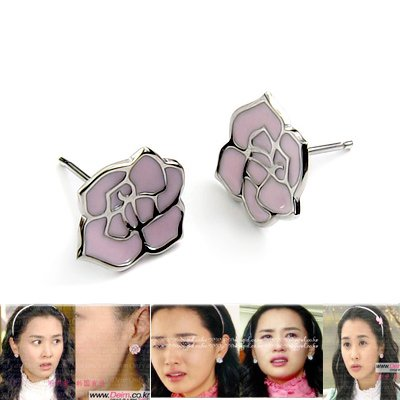24506-sterling silver platium plated with  glaze earring