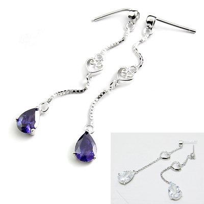 24522-sterling silver with  rhinestoe earring