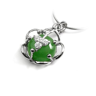 24643-Sterling silver,jade,stone pendant