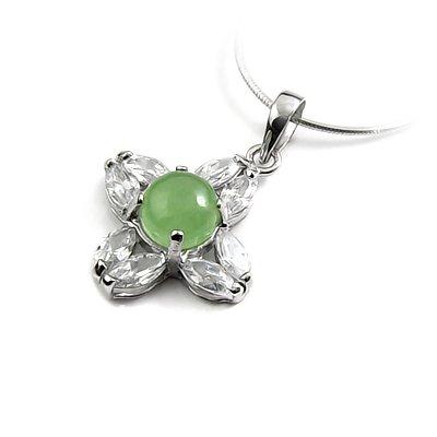 24644-Sterling silver,jade,rhinestoe  pendant