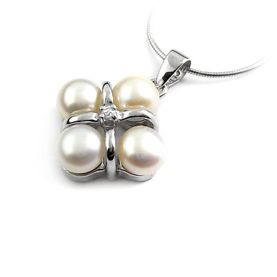 24646-Sterling silver,pearl,stone pendant