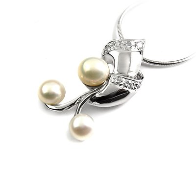 24647-Sterling silver,pearl,stone pendant