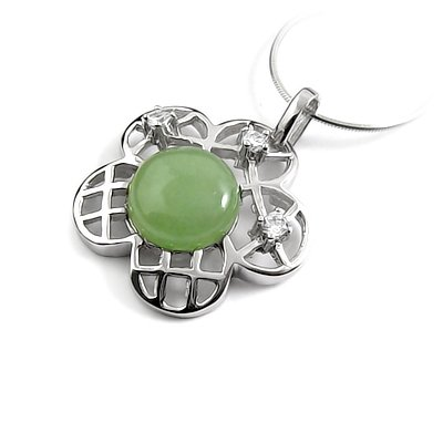 24650-Sterling silver,jade,stone pendant