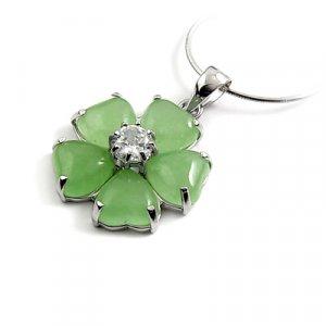 24654-Sterling silver,jade,rhinestoe pendant