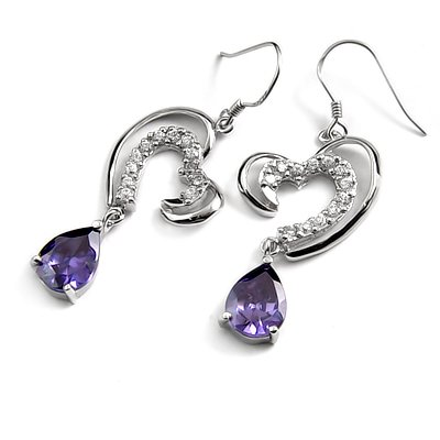 24681-sterling silver with  rhinestoe earring