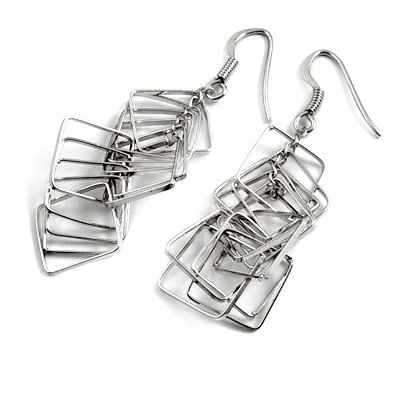 24682-sterling silver platium plated earring