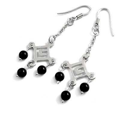 24685-sterling silver platium plated with agate earring