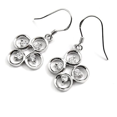 24687- sterling silver platium plated with rhinestoe earring