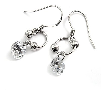 24690-sterling silver platium plated with rhinestoe earring