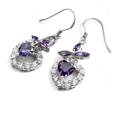 24694-sterling silver platium plated with rhinestoe earring