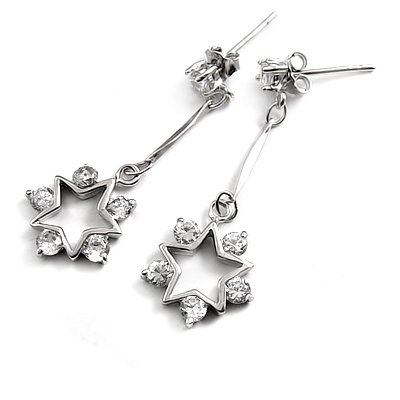 24696-sterling silver platium plated with rhinestoe earring