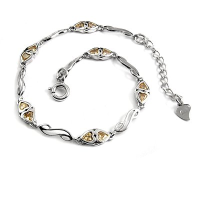 24702-sterling silver platium plated with  rhinestoe bracelet